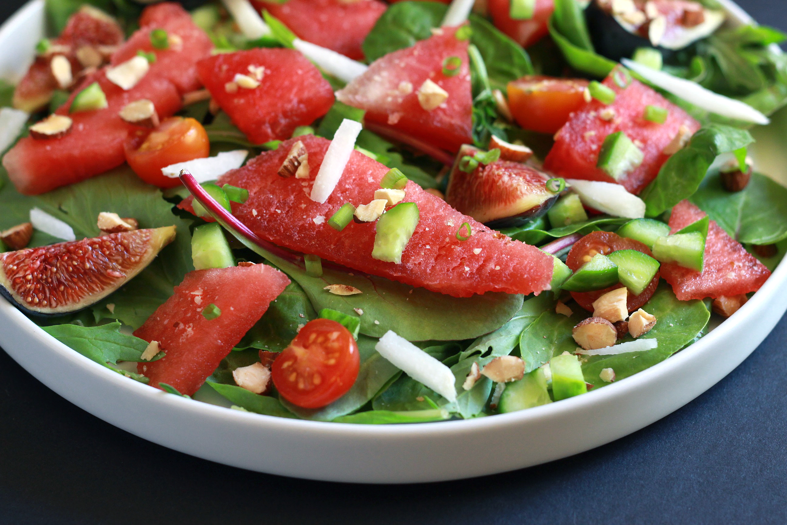 Easy Paleo Watermelon Salad with Roasted Almonds & Fig Balsamic Dressing-1