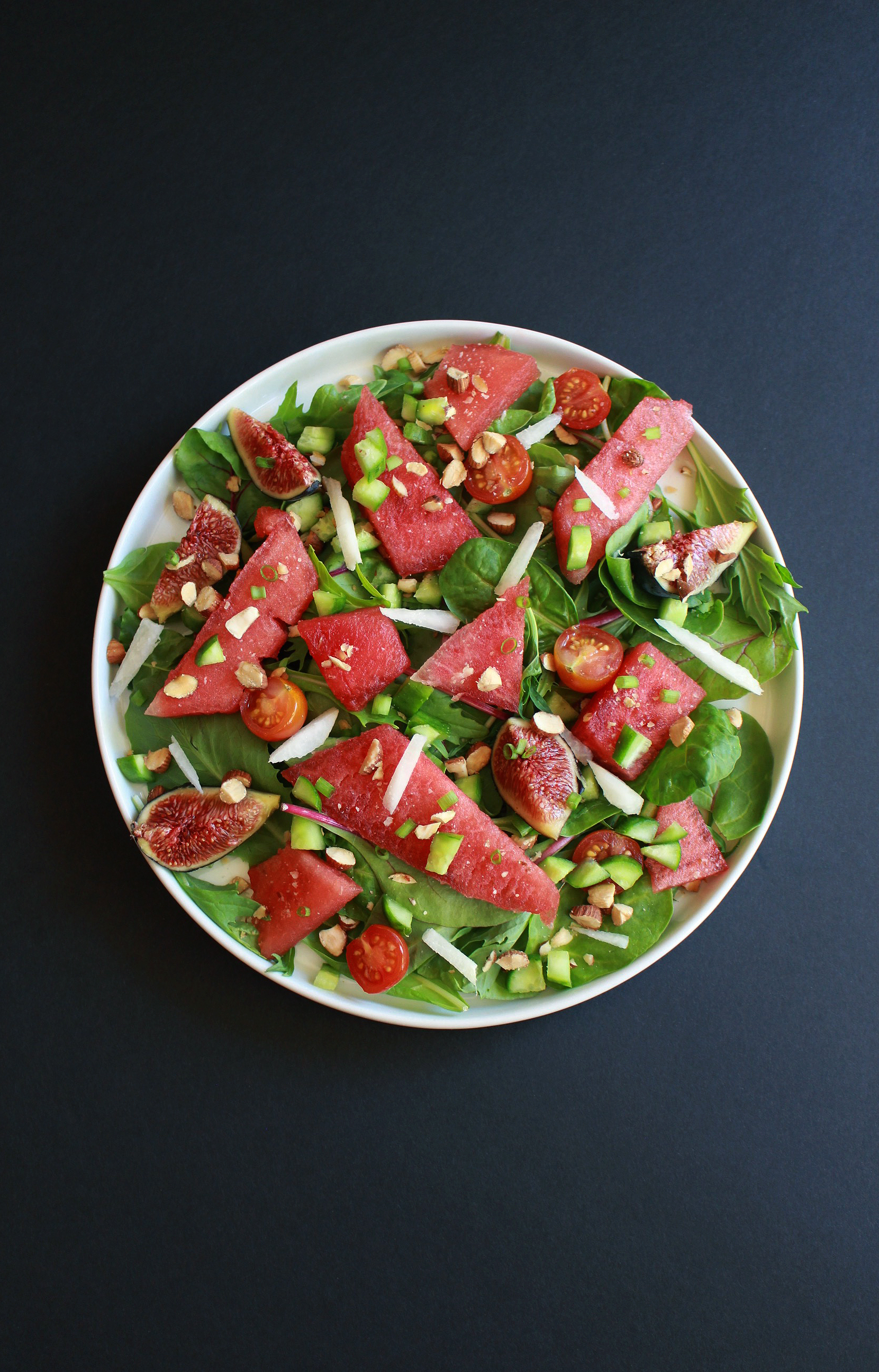 Easy Paleo Watermelon Salad with Roasted Almonds & Fig Balsamic Dressing-2