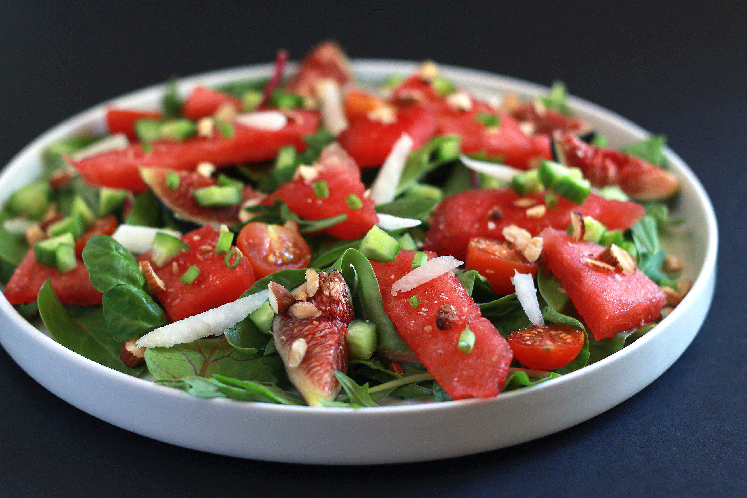 Easy Paleo Watermelon Salad with Roasted Almonds & Fig Balsamic Dressing