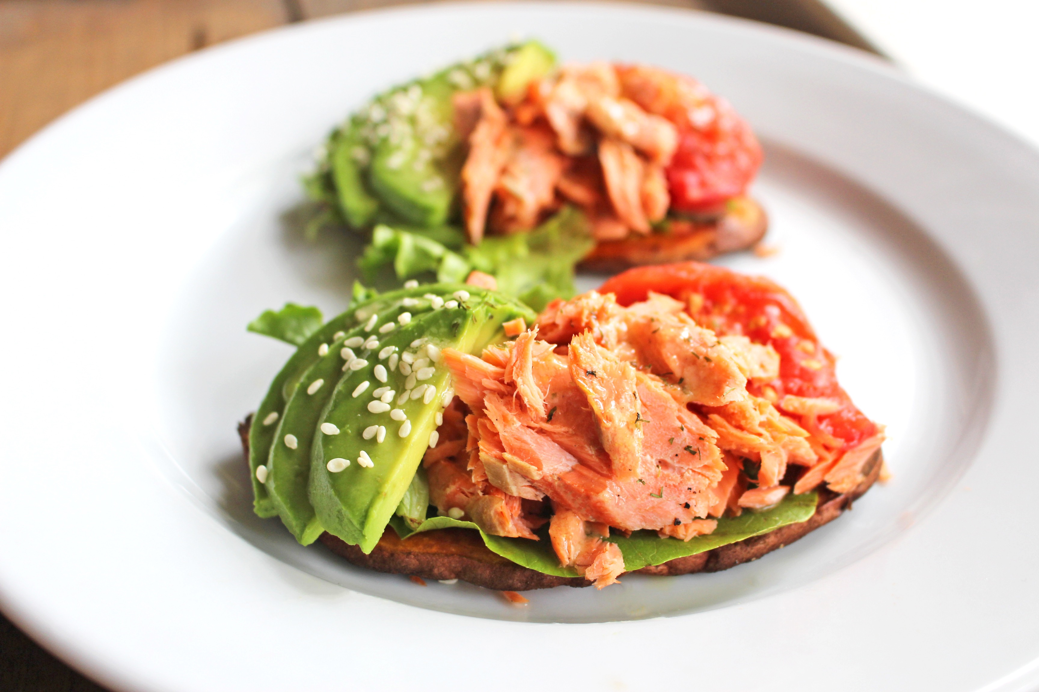 Paleo sweet potato toast salmon avocado