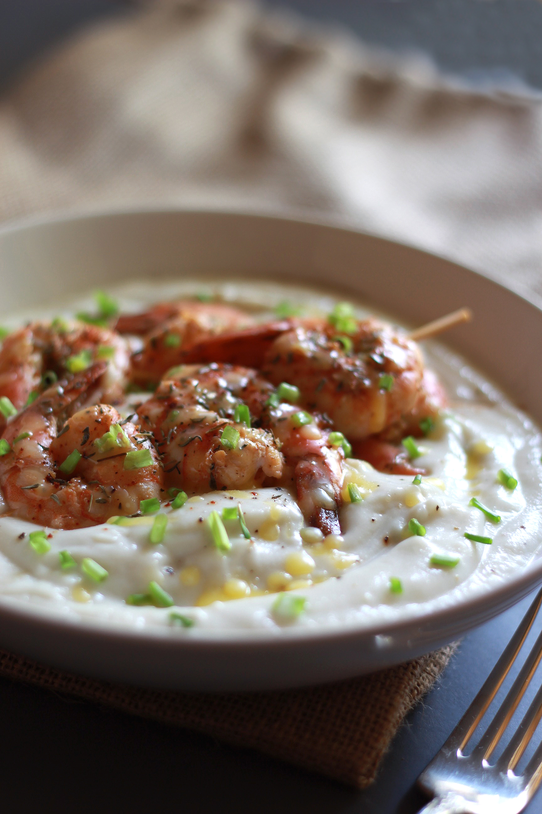 lime shrimp skewers with cauliflower puree and ghee